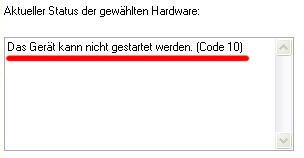 Beispiel Grafikkarte Fehlercode 10