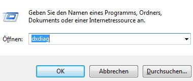 Beispiel DirectX Diagnoseprogramm