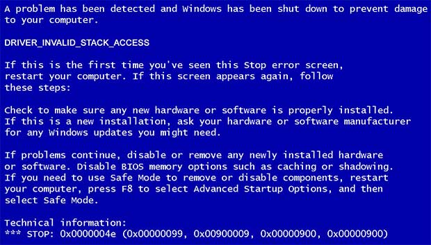 DRIVER_INVALID_STACK_ACCESS Fehler
